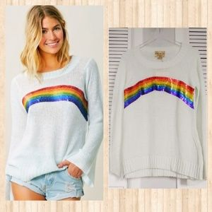 NWT WILDFOX RAINBOW ANTIQUE SEQUINS SWEATER OVERSI